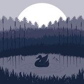 Pareja de patos silvestres en el follaje del lago — Vector de stock