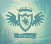 Coat of arms vintage vector background with eagle on shield — Cтоковый вектор