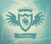 Sfondo vettoriale vintage di stemma con aquila sullo scudo — Vettoriale Stock