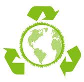 Groene en schone ecologie earth globe concept vector achtergrond — Stockvector