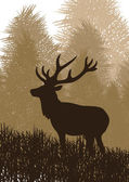 Animated rain deer in wild forest foliage illustration — Stockvector