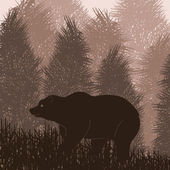 Animated brown bear in wild night forest foliage illustration — Stockvector