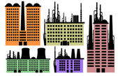 Set of houses and factory vector background — 图库矢量图片