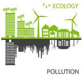 Green Eco city ecology vector background concept around globe — Stock Vector