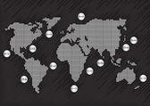 šedá mapa světa s abstraktní pozadí země — Stock vektor