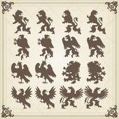 Illustration des armoiries des oiseaux royal Vintage — Vecteur