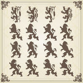 Vintage royal birds coat of arms illustration — Stock Vector