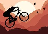 Hübsch professional trial Mountain Bike Abbildung — Stockvektor