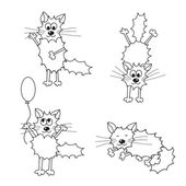 Cute animated doodle cats illustration — Stock Vector