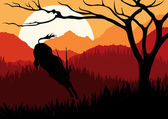 Animated running gazelle in wild africa mountain landscape illustration — Stock Vector