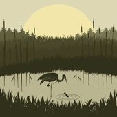 Heron in wild nature foliage illustration — Stock Vector