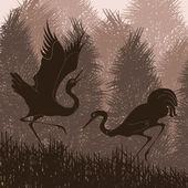 Animated crane couple in wild forest foliage illustration — Stock vektor