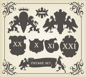 Heraldic silhouettes set of many vintage elements vector — Stock Vector