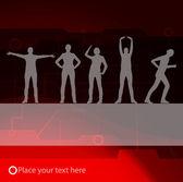 Animated women gymnastic exercises background illustration — Stock Vector