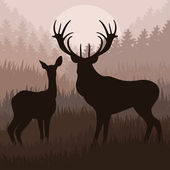 Animated deer in wild night forest foliage illustration — Stock Vector