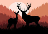 Animated rain deer in wild forest foliage illustration — Stock Vector