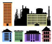 Set of houses and factory vector background — Vector de stock