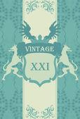 Wapenschild vintage vector achtergrond met de adelaar op schild — Stockvector