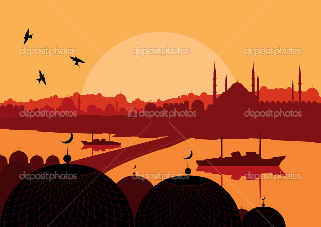 Vintage turkish city Istanbul landscape illustration vector — Stock Vector #6744136