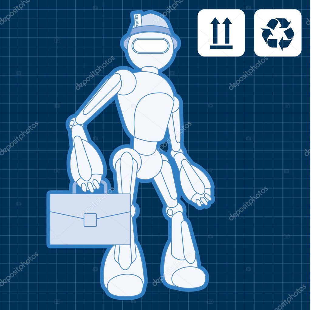 Animated construction site architect assistant robot blueprint plan vector — Stock Vector #6744354