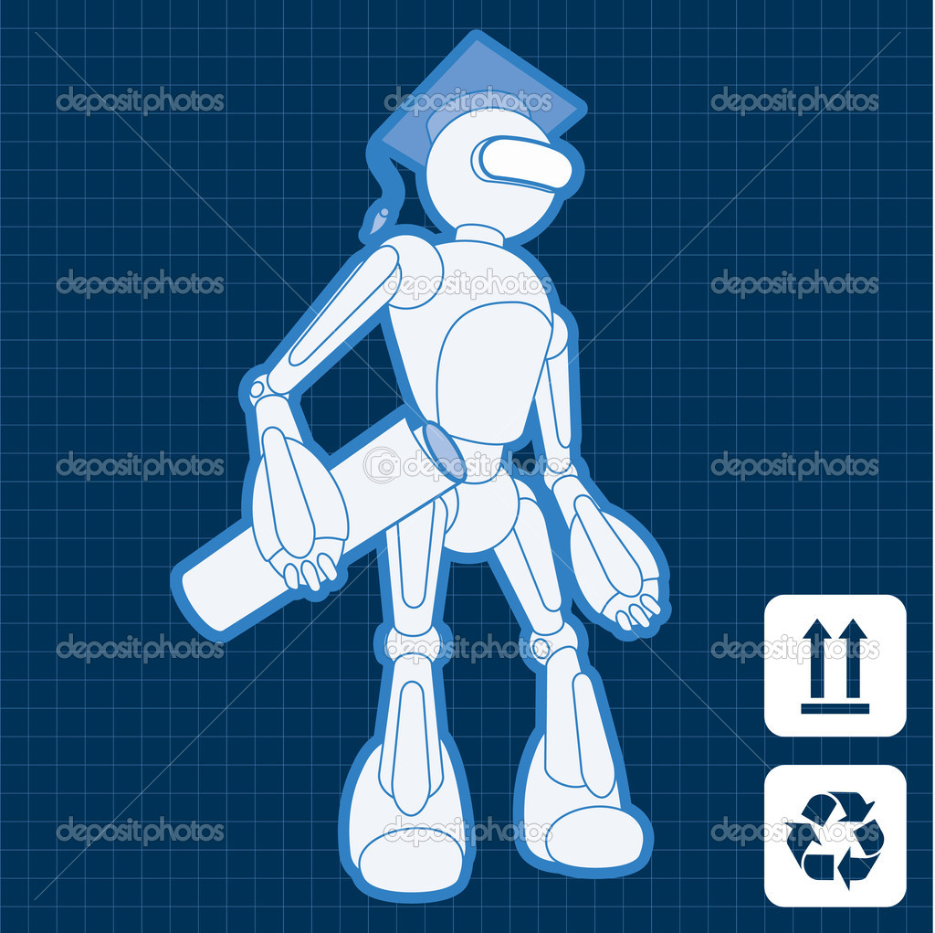 Animated construction site architect assistant robot blueprint plan vector  Stock Vector #6744355