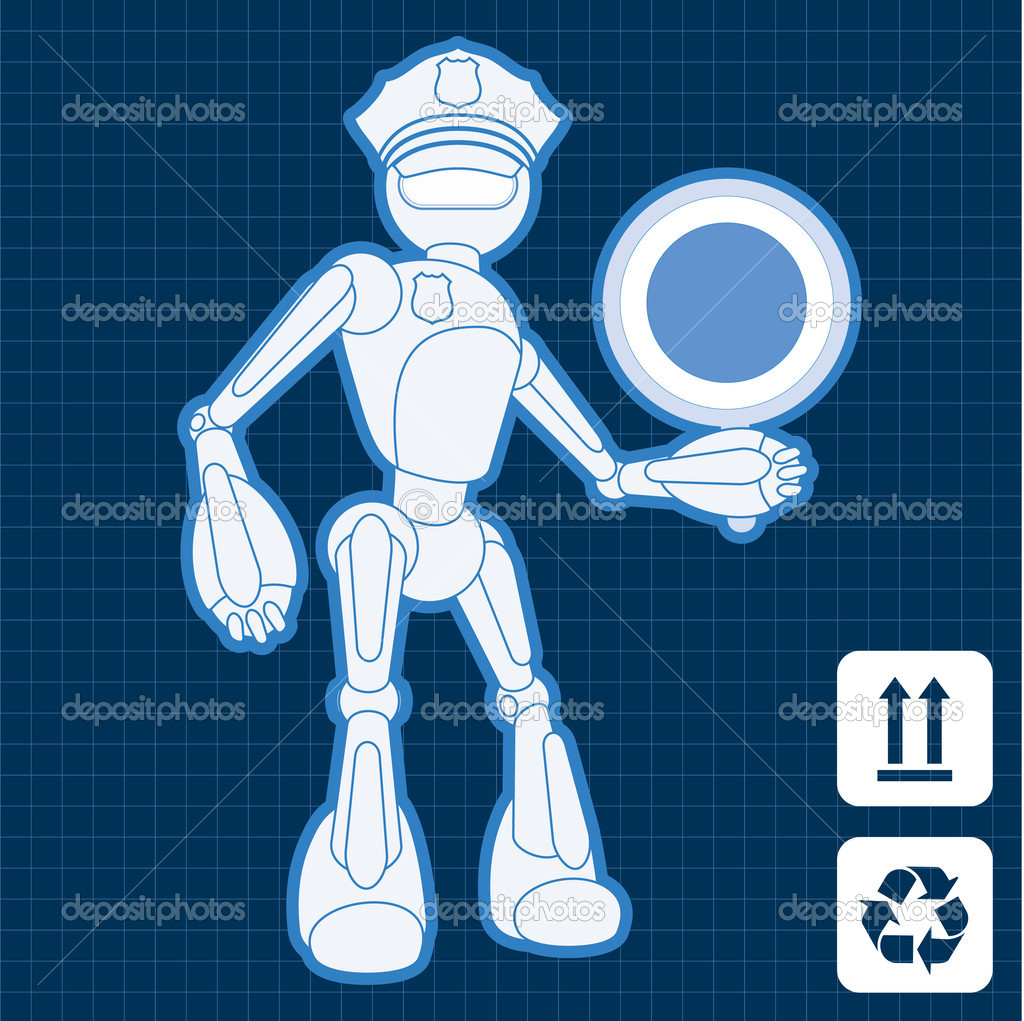 Animated police officer robot blueprint plan illustration vector  Stock Vector #6744373