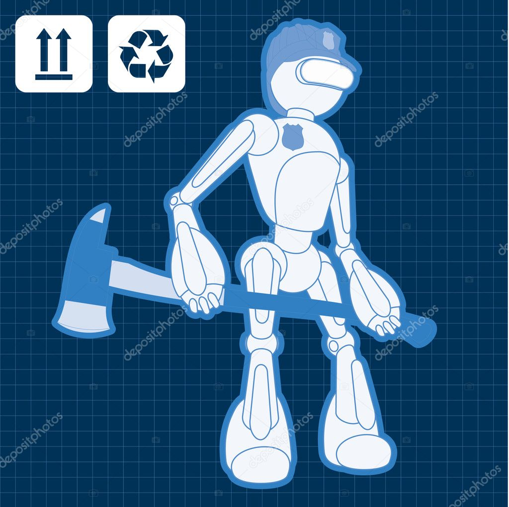 Animated construction site fireman robot illustration vector background — Stock Vector #6744377