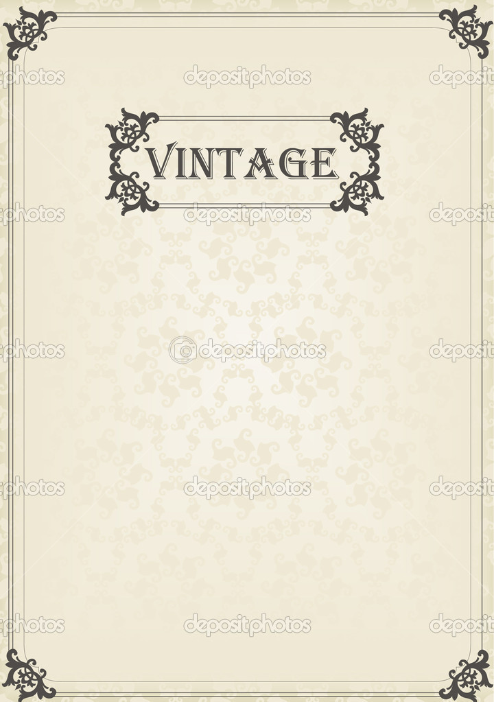 Classic Book Covers Vector : Vintage vector decorative frame for book cover or card