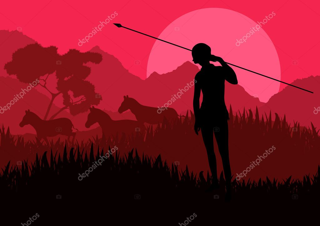 Native african hunter in wild nature landscape illustration vector  Stock Vector #6744658
