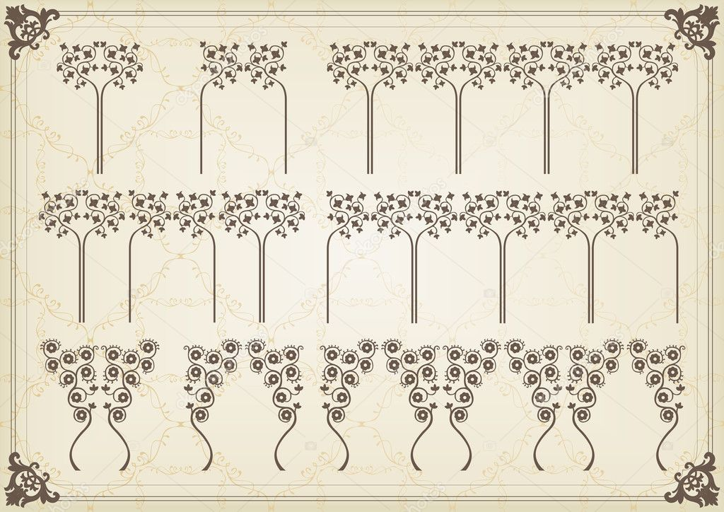 Vintage frames and elements background illustration vector — Imagens vectoriais em stock #6744707