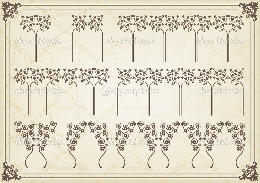 Vintage frames and elements background illustration vector — ベクター素材ストック #6744707