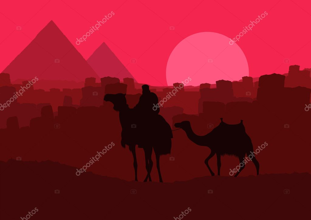 Pyramids and camel caravan in wild africa landscape illustration vector — Stock Vector #6744767