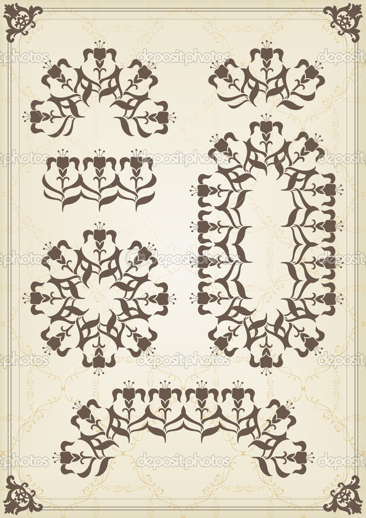 Vintage frames and elements background illustration vector — Grafika wektorowa #6744795