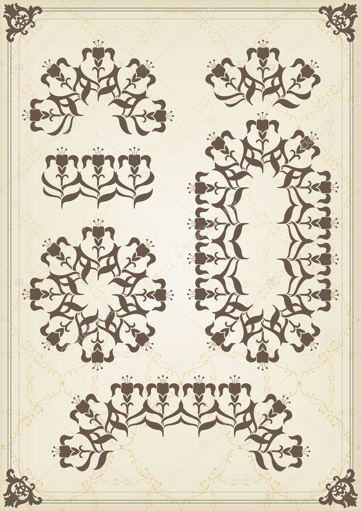 Vintage frames and elements background illustration vector — ベクター素材ストック #6744795