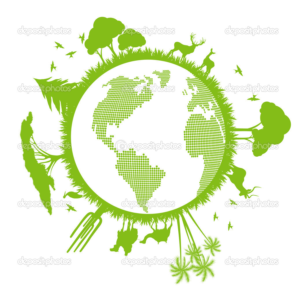 Nature Ecology: Green Ecology Planet Vector Background With Trees Around