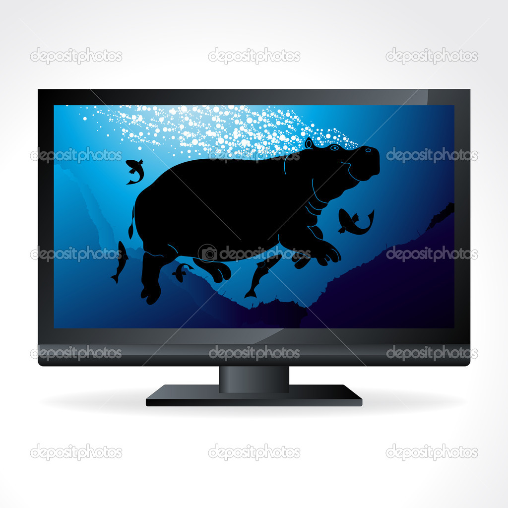 Cute swimming hippopotamus in wild life TV channel vector — Stock Vector #6745022