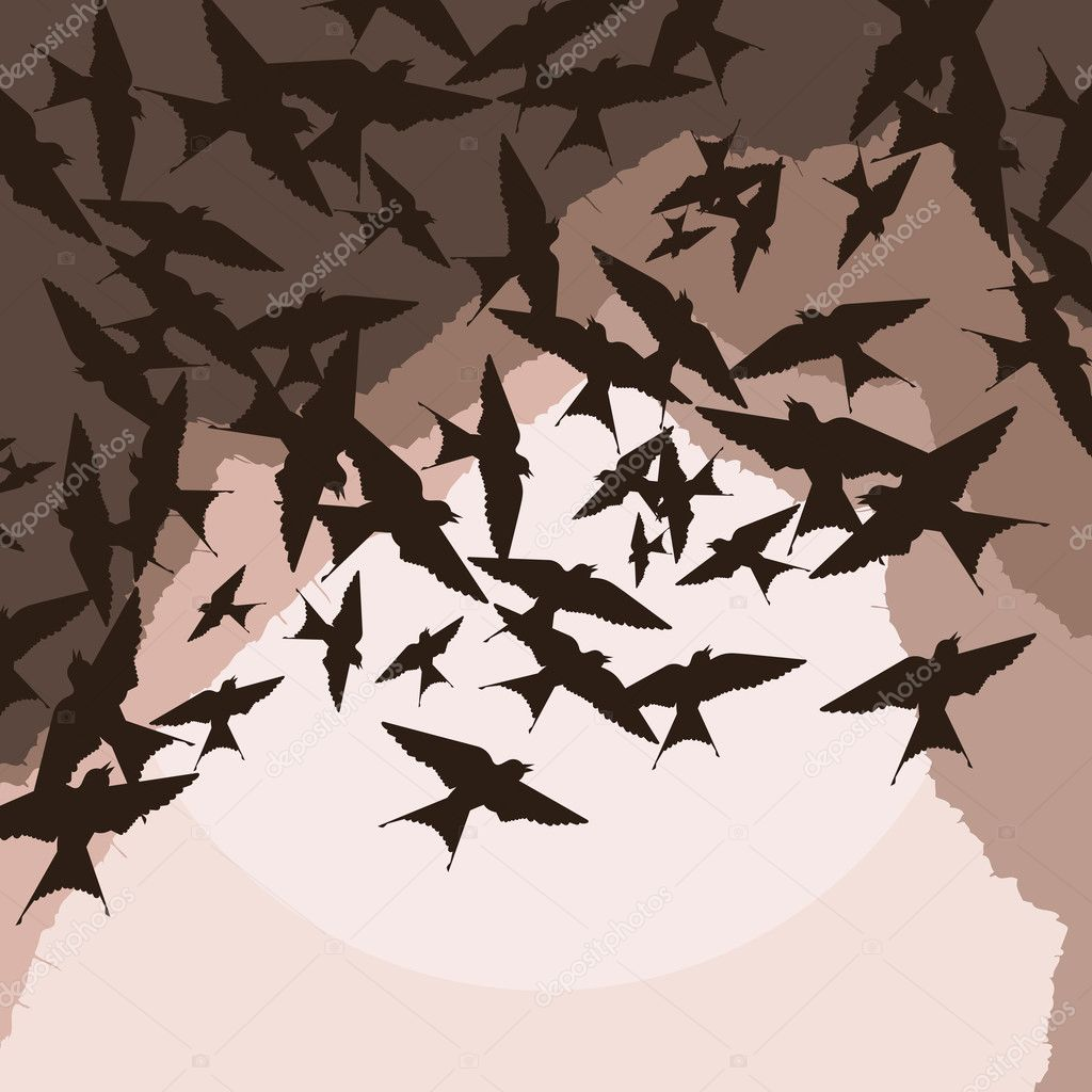 Flying swallow swarm vector background for poster — Stock Vector #6745078