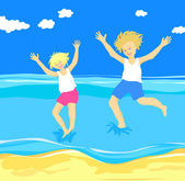 Children jumping in the sea — Stock Vector