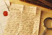 Letter and seal from 1800's, example of handwriting — Stock Photo