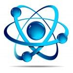 Atom on white background — Stock Vector