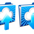Cloud computing upload and download icons — Cтоковый вектор #6435454