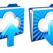 Stock Vector: Cloud computing upload and download icons