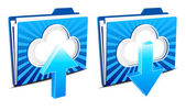 Cloud computing upload and download icons — Stock Vector