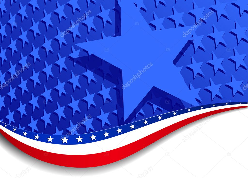 A large patriotic background with stars and stripes, in the vector file there are more stars outside the vector mask, for you to mask as you like. — Stock Vector #6431526