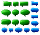 Stylish Green & Blue Speech Bubbles — Stock Vector