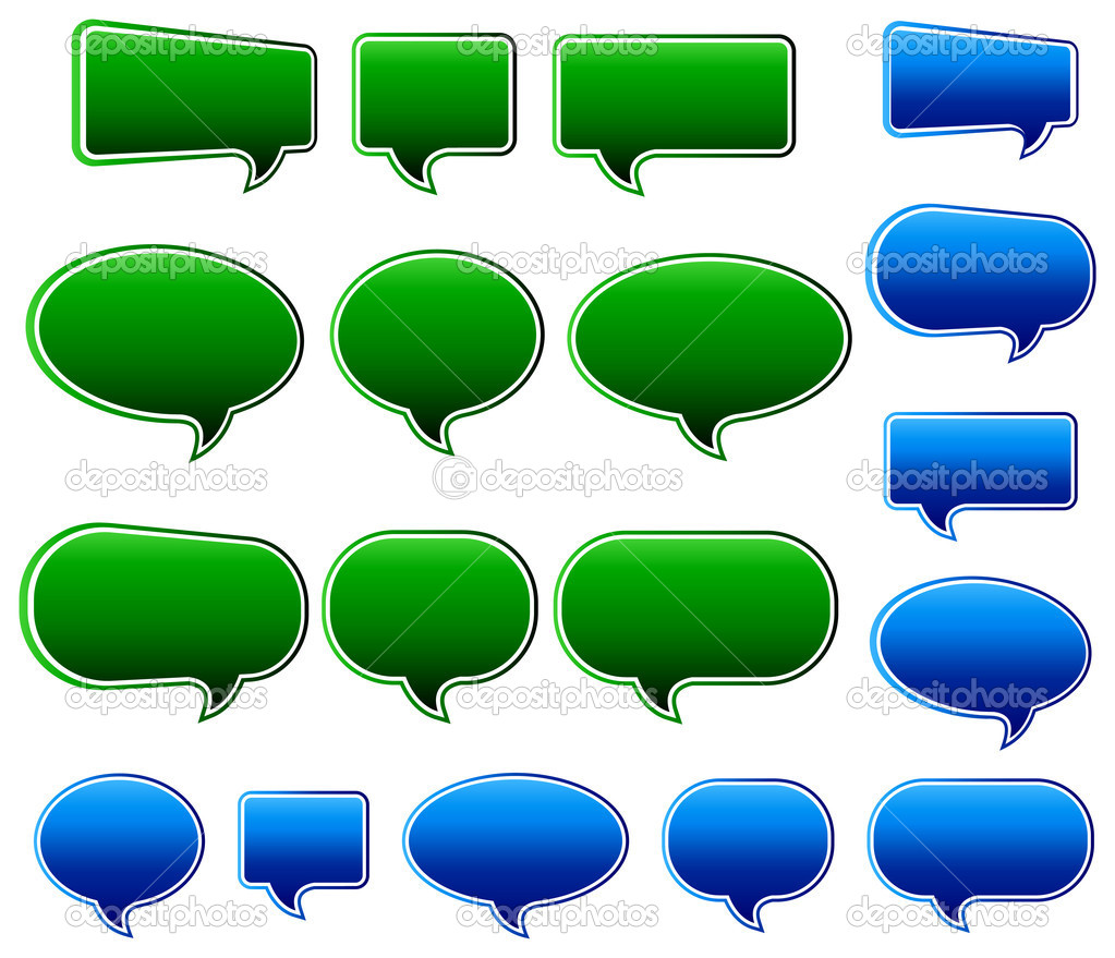 Blue and Green Speech Bubbles All elements are grouped and on ...