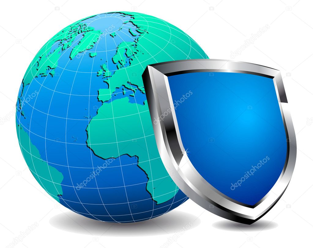 Modern silver and blue shield with world depicting internet security.All elements are grouped and in the vector file and on individual layers easy use.  Stock Vector #6673028