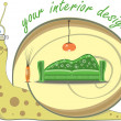 Snail and interior design, vector illustration — Image vectorielle