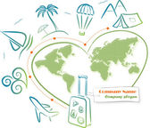 путешествовать по всему миру, векторные иллюстрации — Cтоковый вектор