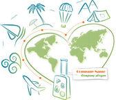Dünya çapında seyahat, illüstrasyon vektör — Stok Vektör